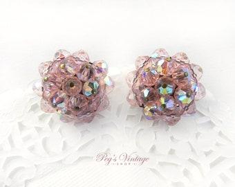 Vintage Pink Aurora Borealis Earrings, Pink Crystal Glass Bead Clip On Earrings