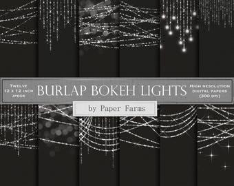 Bokeh lights digital paper, bokeh lights scrapbook paper, silver bokeh lights, light strings, burlap, linen, black, background, DOWNLOAD