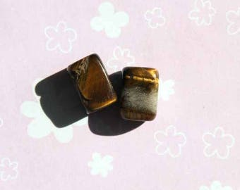Lot 2 Tiger eye, small pave 12x8mm Brown marbled beads