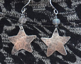 Sterling Silver Star Earrings with Labradorite