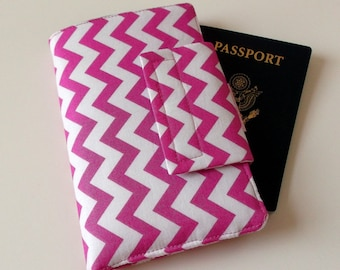 Passport Cover with Travel Journal Smart Phone Wallet Pink Chevron, Ready to Ship