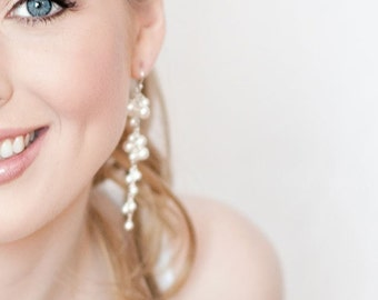Pearl Bridal Earrings. Long Pearl Wedding Earrings, White Pearl Earrings. Wedding Jewellery. Cluster Pearl Jewelry