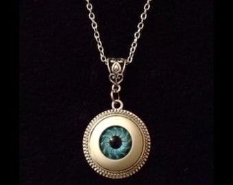 80p UK P&P 3D handmade Blue Eyeball Eye Ball Cameo Necklace Horror Rock Pendant 24 inch Silver Chain *UK dolls eye