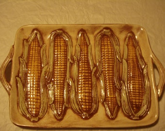 Serving Platter Embossed with Corn on the Cob
