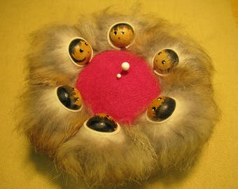 Rabbit Fur Alaskan Inuit Eskimo Blanket Toss Pin Cushion with Painted Faces