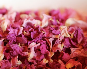 Rose Petals/1lb Organic Dried ROSES PETALS & BUDS/ Natural Dried Wedding Flower/Bulk Red Pinked buds and leaves/Potpourri/