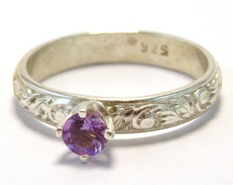 4mm Faceted Amethyst Claw Set Stacking Ring on Floral Band