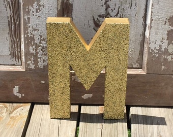 "Decorative Gold Glitter 12"" Stand Up Wall Letters, Photo Prop, Birthday Decoration, Wedding Reception Decor"