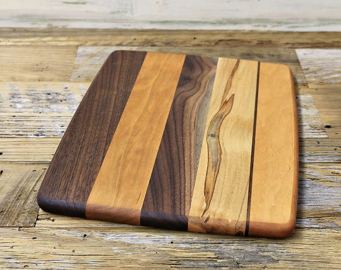 SALE, Price Reduced!!! Wood Cutting Board, Random Layout, Walnut, Cherry & Ambrosia Maple Wood