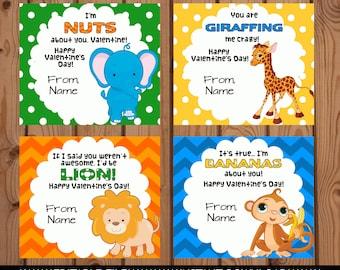 Animal Valentine Cards, Classroom Valentines, Classroom Valentine Cards, Kids Valentines, Zoo Animal Valentine, Zoo Animal Valentine Cards