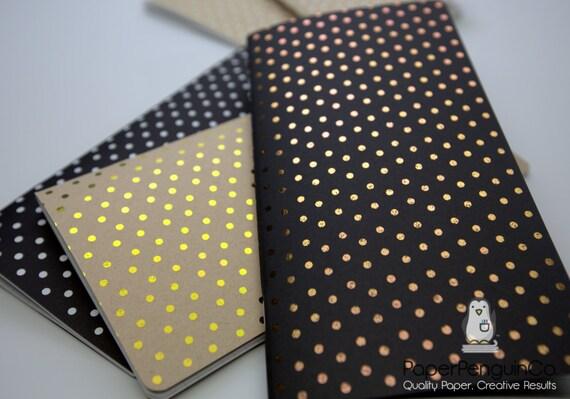 Midori Insert Foil Dots White Gold Rose Gold Silver Travelers Notebook Standard Regular A5 Wide B6 Personal A6 Pocket Field Notes Passport