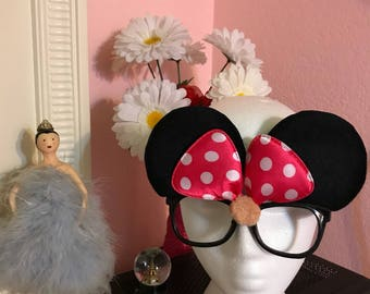Cute Fashion Hot Pink Polka Dot Bow Minnie Mouse Ears Subglasses