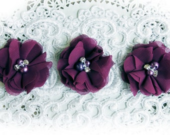 Reneabouquets Flower Set - Plum Purple Chiffon, Pearl And Rhinestone Fabric Flowers Perfect For Halloween DIY Projects!