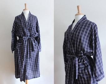 Vintage Lightweight Maroon & Navy Plaid Duster Robe