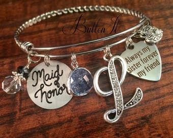 Maid of honor gift, Maid of honor gift SISTER, will you be my maid of honor, charm bracelet, rehearsal dinner, forever my friend, green