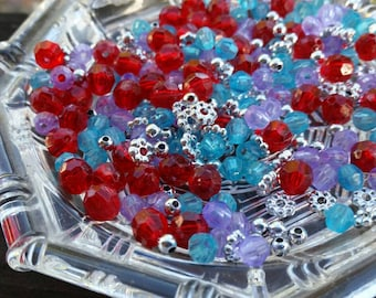 500 Small Blue, Red, Purple and Silver Plastic Beads - 6mm - Faceted beads and spacer beads mix