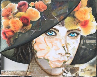 Springtime of the Soul, Mixed Media Acrylic Portrait on Canvas by JoDee Luna, original, woman wearing vintage hat, photos of flowers