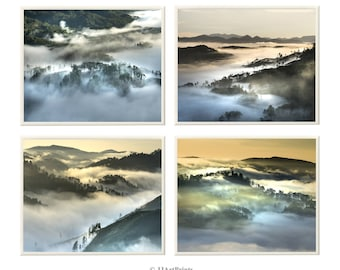 Set of 4 mountains photo download, mountains and fog, clouds prints, printable landscape photo, romantic photo, home, office wall art, decor