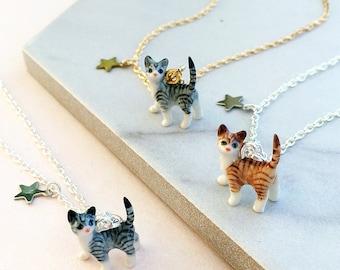 Ceramic Tabby Cat Necklace