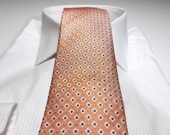 Silk Tie in PERSIMMON Orange Navy Blue White