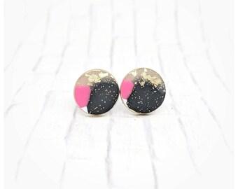 Pink and black earrings abstract art earrings nickel free earrings lightweight earrings round granite earrings multicolored earrings pop art