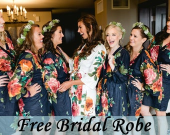 Bridesmaid Robes, Bridesmaid Gift, Bridesmaids Robe, Floral Bridesmaid Robes, Getting ready Robes, Bridal shower favor, Wedding Robes, Robes