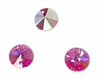 6pc - 8mm Swarovski Crystal Rose AB Rivoli Round Disk Charm Pendants Style 6200