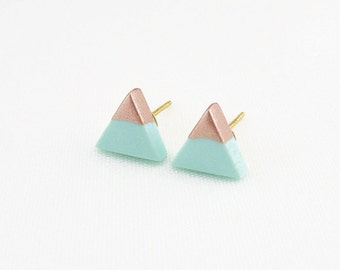 Mint - Rose Gold Dipped Triangle Stud Earrings