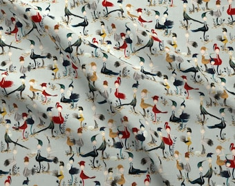Bird Girls Fabric - Bird Girls In Egg Blue By Katherine Quinn - Bird Girls Costume Cute Feathers Cotton Fabric By The Yard With Spoonflower