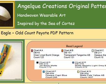 Egyptian Eagle DIY Bracelet ODD Count Peyote PDF pattern, blue, orange, yellow, black, Eye of Ra, bead weaving