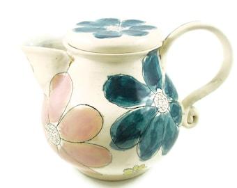 Ceramic Coffee Pot or Tea Pot - Summer Garden Flowers - Handmade Table Art - Wheel Thrown Stoneware Clay Pottery - Ships Today