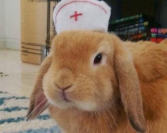 Therapy pet nurse bunny rabbit felt hat