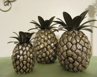 Candle Holders Pineapple  Vintage Godinger Silver Candlestick Holders Set of 3 Graduated in Size Unique Gift Idea Home Decor Lighting