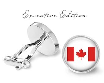 Canadian Flag Cufflinks - Canada Cufflinks - Country Cufflinks (Pair) Lifetime Guarantee (S0930)