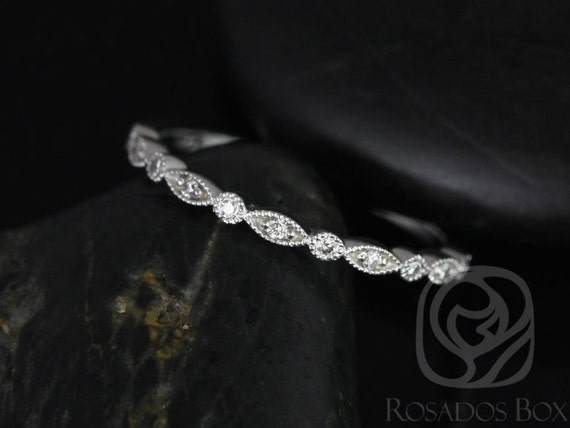 Rosados Box Ultra Petite Bead & Eye 14kt White Gold Vintage WITH Hand Milgrain Diamonds HALFWAY Eternity Band