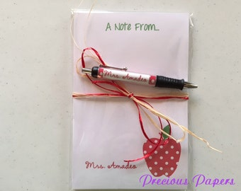 Personalized red polka dot apple pen and note pad apple note pad and Pen set Teacher note pads teacher pens
