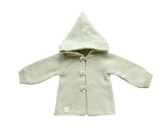 Reserved C / FRENCH VINTAGE 70's / baby hooded knitted cardigan / light green / new old stock / size 6 months