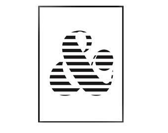 Stripey & print - simple monochrome print