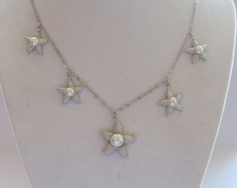 CGICN Vintage Silver Tone Star Fish Pearl Necklace