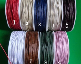 1mm- mini Waxed Cord-10yard -select color