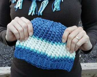 Blue Cowl and Hat Set