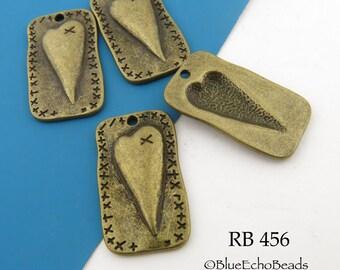 27mm Folk Art Style Heart Charm Rectangle Antique Brass Charm (RB 456) 4 pcs BlueEchoBeads