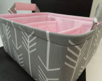 "Large Diaper Caddy-12""x 10""x 6""(CHOOSE Basket & Lining COLOR)Two Dividers-Baby Gift-Fabric Storage Organizer-Chevron-""Grey Arrow"""