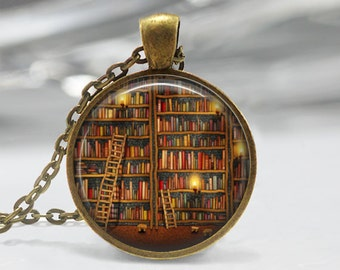 Library Book Necklace Librarian Jewelry for Bibliophiles Bookworms Art Pendant in Bronze or Silver with Link Chain Included