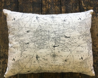 fly around the world map pillow