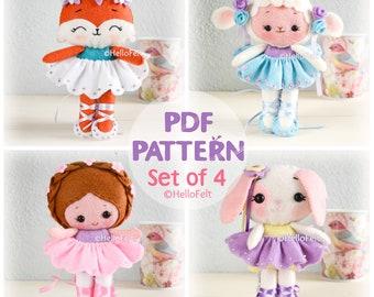 PDF PATTERN: Set of 4 felt ballerinas doll, felt doll pattern, felt plush pattern.