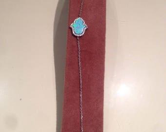 Silver Bracelet with opaline stone