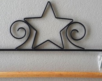 "18"" or 45cm black metal star rod pocket mini quilt or wallhanging hanger"