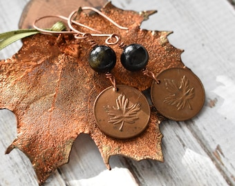 Maple Leaf Coin Earrings- Vintage Copper Coin Jewelry- Obsidian Bead Dangle Earrings- Black Stone Copper Earrings