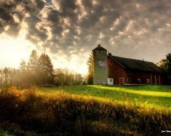 Barn Decor, Barn Art, Country Decor, Rustic Decor, Farmhouse Decor, Wisconsin, Midwest, Home Decor, The Lighted barn